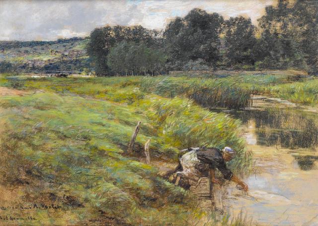 Léon Augustin Lhermitte (French, 1844-1925) Une laveuse au bord de la rivière