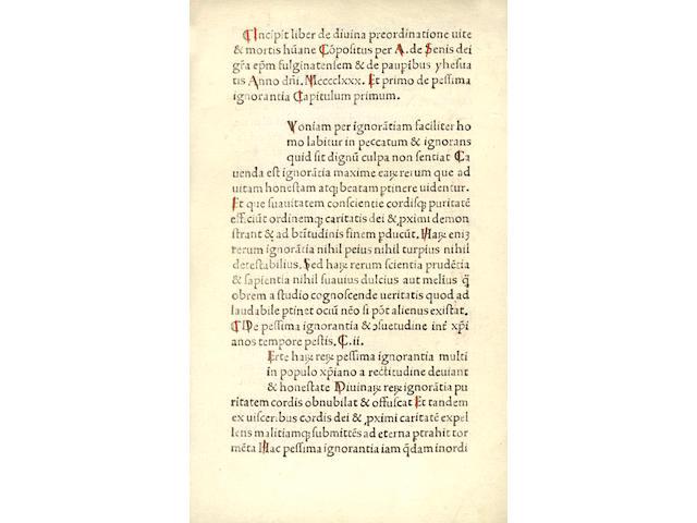 ANTONIO [BETTINI] da Siena De divina praeordinatione vitae et mortis humanae. Responsio contra Magistrum Petrum
