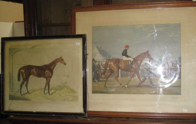 After Alfred Munnings - Steve Donahue Up pencil, signed lithograph published by Frost & Reed 1924, image 33 x 55cm, and a lithograph of the House Cussak published 1847. (2)