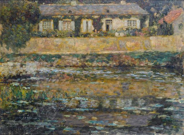 Henri  Le Sidaner (1862-1939) La maison au bord de l'eau, Montreuil-Bellay