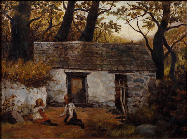 British School, 19th Century Children before a cottage