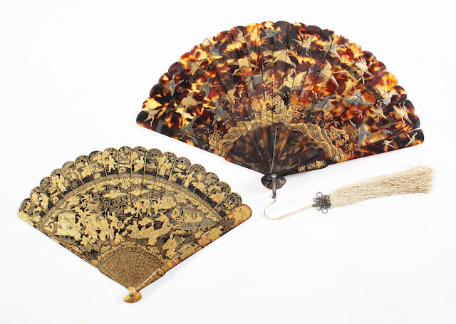 Two Oriental late 19th century fans