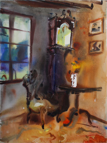 Sophie Knight (British, born 1965) Grandfather clock in a cottage, south of France