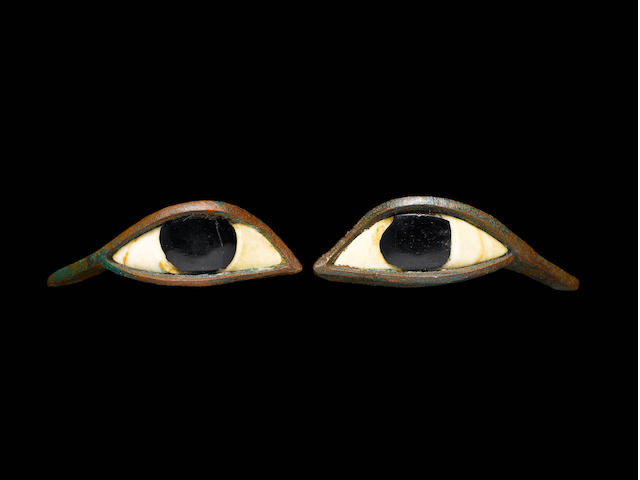 A pair of Egyptian bronze eyes