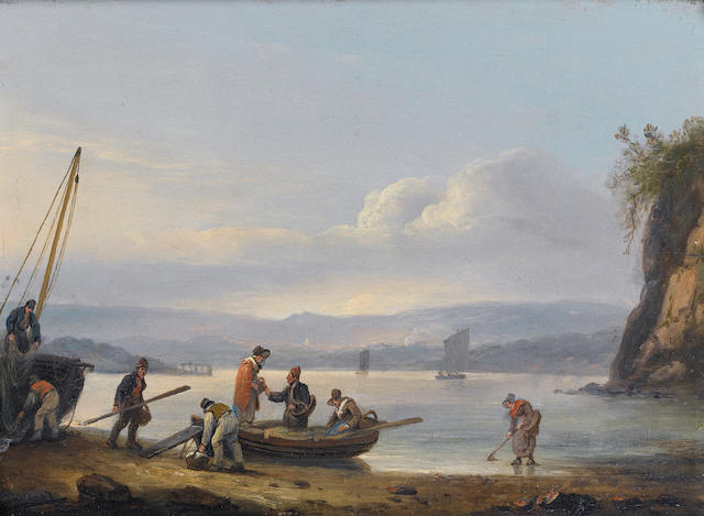 Thomas Luny (British, 1759-1837) A coastal scene with figures embarking a boat