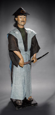 Two life-size Japanese figures designed as characters from the Bakufu Era Meiji Period, or perhaps later