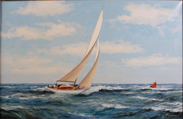 M.G. Friedrich (German, 20th Century) Racing yacht at sea
