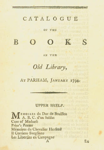LIBRARY CATALOGUE, PARHAM HOUSE Catalogue of the Books in the Old Library, at Parham 1794