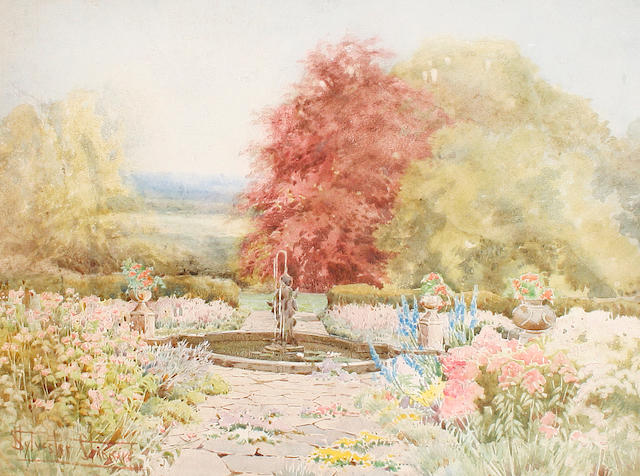 Attributed to Henry John Sylvester Stannard, RBA (British, 1870-1951) A formal garden