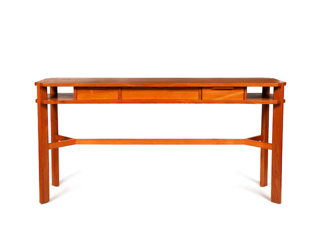 Alan Peters:  Dining suite:- elm dining table, the rectangular top with rounded ends, on curved open
