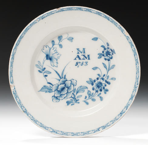 A Delftware plate, dated 1753