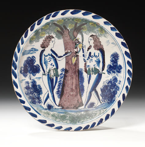 A delftware blue dash charger Adan and Eve