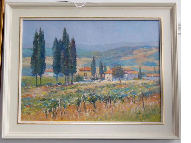"Ted Dyer (British, 20th century) ""Tuscan farm in the warmth of the day"""