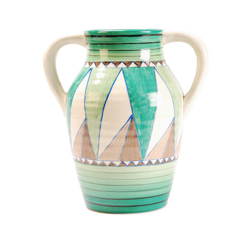 A Clarice Cliff Vase 'Original Bizarre' pattern twin handled Isis jug   Circa 1936