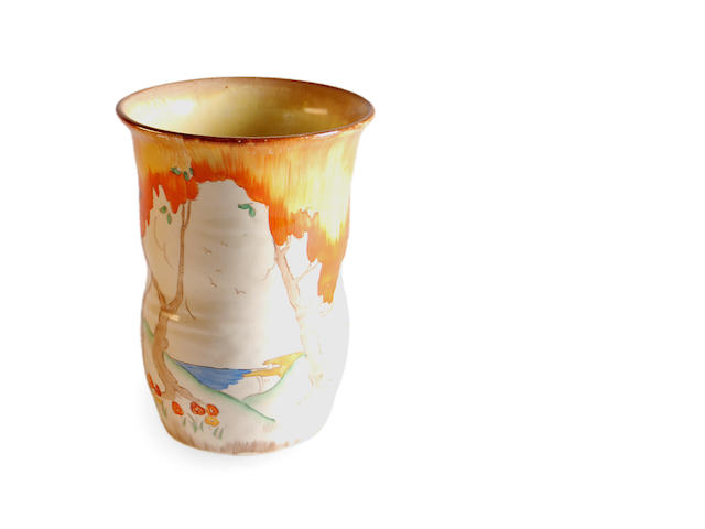 A Clarice Cliff 'Orange Taormina' pattern vase