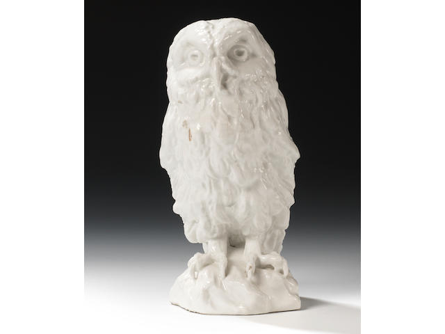 A rare and fine Chelsea model of an owl, circa 1745-49