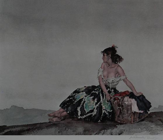 Sir William Russell Flint R.A., P.R.W.S. (British, 1880-1969) 'Carmelita', 28cm 32cm.