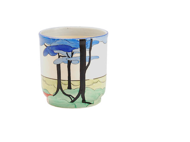 A Clarice Cliff 'Blue Firs' pattern Heath fern pot Circa 1925