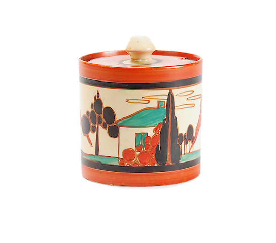 A Clarice Cliff 'Red Trees and Houses' preserve pot  Circa 1930
