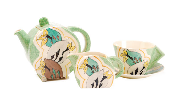 A Clarice Cliff 'Cowslip' pattern bonjour bachelor set Circa 1930