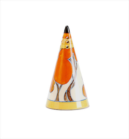A Clarice Cliff 'Autumn (Balloon Trees)' pattern  sugar sifter Circa 1930