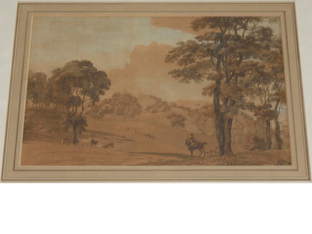 Early 19th Century School Huntsmen in a landscape (faded), a lake view (monochrome wash) and a drawing of figures by a bridge (3)