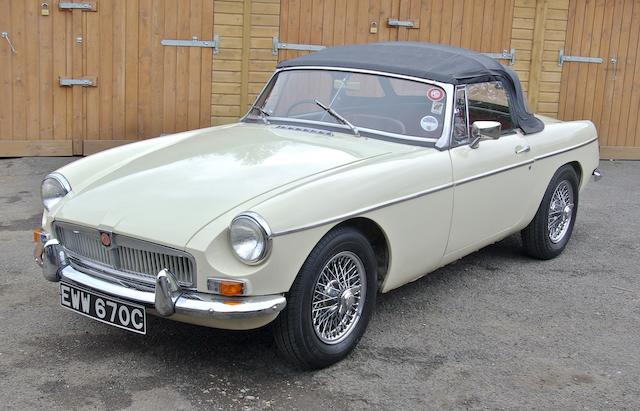 Only 22,000 miles and two owners from new,1965 MGB Roadster  Chassis no. GHN5-4840 Engine no. 18GB RUH 7513