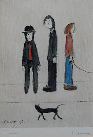 Laurence Stephen Lowry, R.A. (British, 1887-1976) 'Three Man and a Cat',