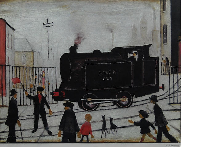 Laurence Stephen Lowry R.A. (British, 1887-1976) 'Level Crossing with Train',