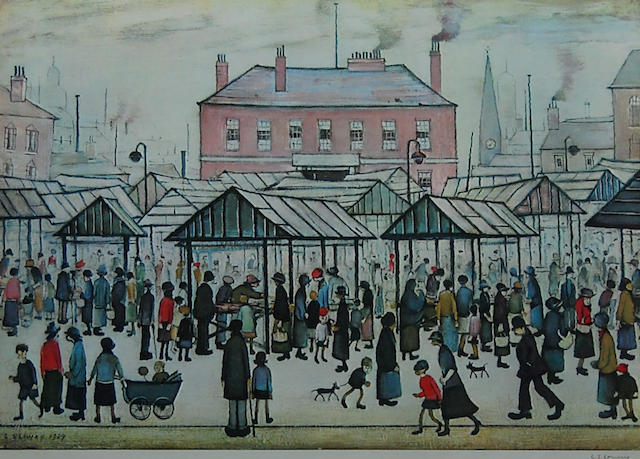 Laurence Stephen Lowry R.A. (British, 1887-1976) 'Market Scene in a Northern Town',