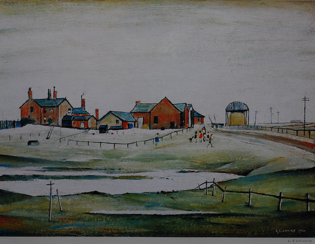 Laurence Stephen Lowry, R.A. (British, 1887-1976) 'Landscape with Farm Buildings',