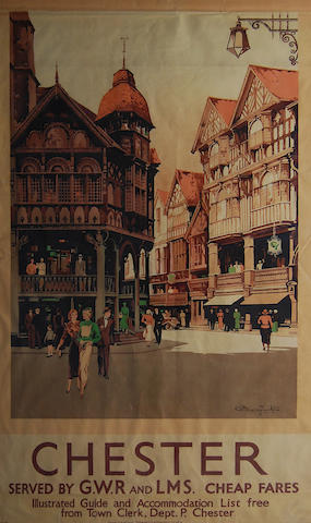 Claude Buckle, RI (British, 1905-circa 1973) 'Chester - Served by G.W.R and LMS. Cheap Fares', a travel poster,
