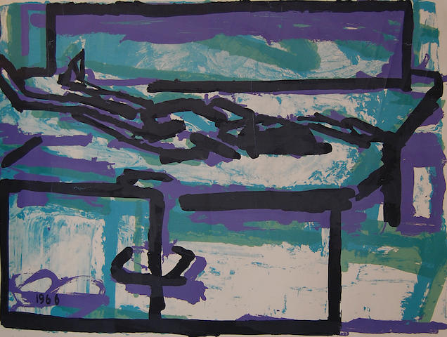 Frank Auerbach (British, born 1931) Purple, green and black abstract,