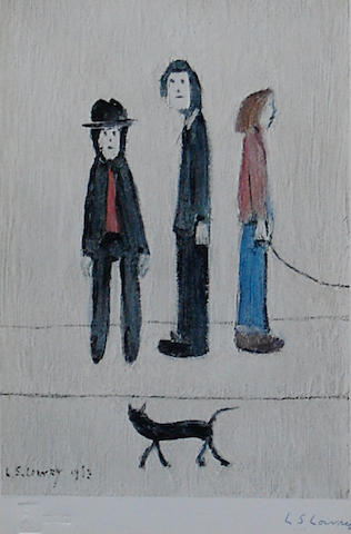 Laurence Stephen Lowry R.A. (British, 1887-1976) 'Three Men and a Cat',