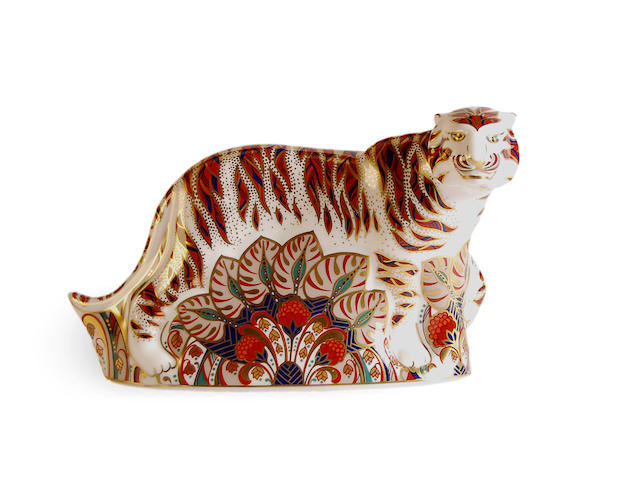 A large Royal Crown Derby Bengal Tiger paperweight