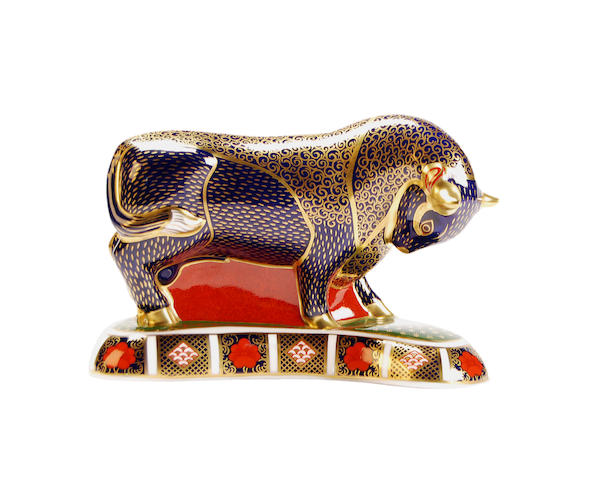 A large Royal Crown Derby Bull paperweight