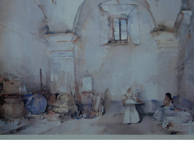Sir William Russell Flint R.A., P.R.W.S. (British, 1880-1969) 'In a Burgundian Granary',