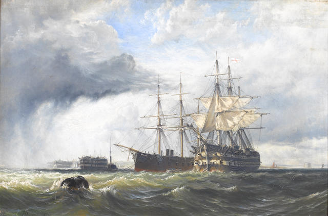 Henry Thomas Dawson (British, 1841-circa 1896) Sail and steam in Spithead