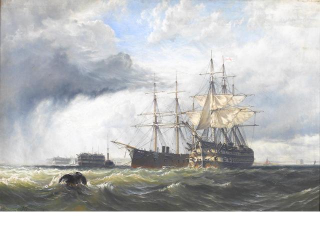 Henry Thomas Dawson (British, 1841-circa 1896) Sail and steam in Spithead