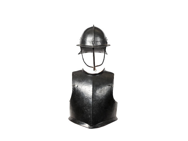 An English Civil War Period Breast Plate And Lobster Tailed Helmet