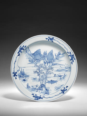 A blue and white 'Master of the Rocks' landscape dish Early Kangxi