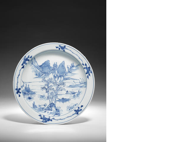 A blue and white 'Master of the Rocks' landscape dish Circa 1640-1700
