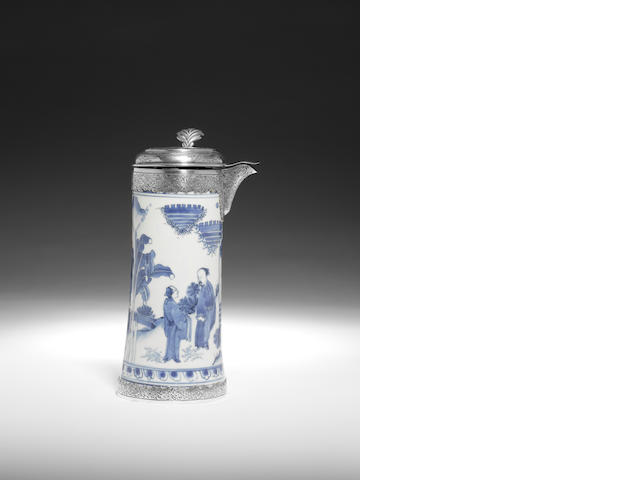 A blue and white silver-mounted tankard  Chongzhen, the Dutch silver mounts dating to circa 1836-1863