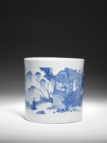 A fine and large blue and white brush pot, bitong Circa 1640