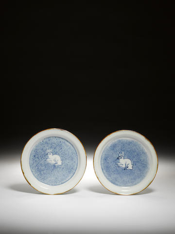 A pair of blue and white kosometsuke dishes Tianqi