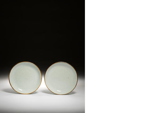 A pair of incised celadon incised saucer dishes Circa 1740-1760