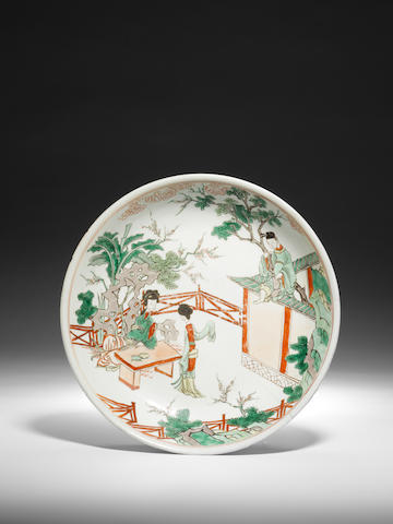 A famille verte 'narrative subject' dish Early Kangxi