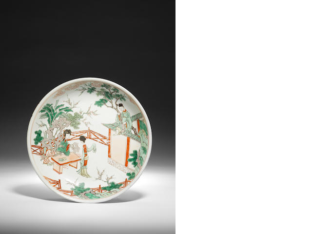 An enamelled 'narrative subject' dish early Kangxi