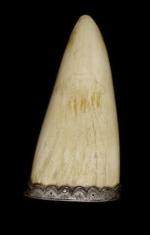 A scrimshawed whale's tooth snuff mill,  4.8in(12cm)