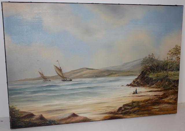 Philip Marchington (British, born 1934) Figures on a beach
